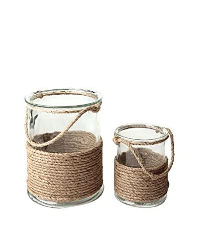 Napa Home & Garden Set of 2 Beach Hurricanes with Rope, Clear/Brown