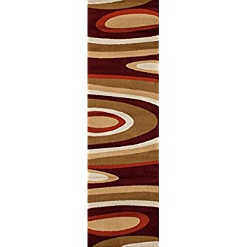 "Rugshop Abstract Contemporary Modern Area Rug Runner, 2 x 72"", Burgundy"
