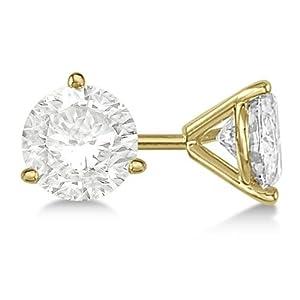Allurez 4.00Ct. 3 Prong Martini Diamond Stud Earrings 18Kt (G H, Vs2 Si1) Yellow Gold