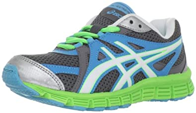 ASICS GEL-Extreme33 GS Running Shoe (Little Kid/Big Kid),Silver/White/Apple Green,7 M US Big Kid