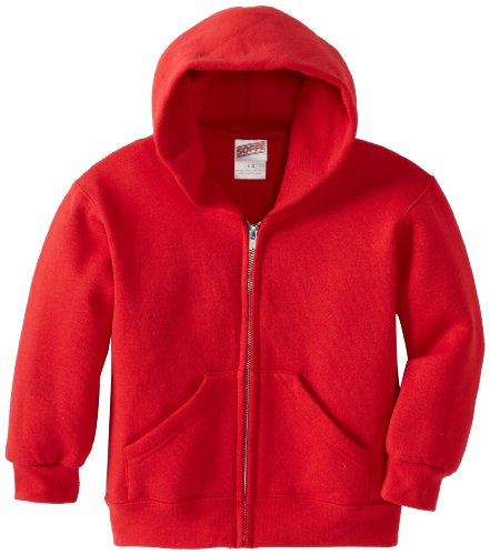 Soffe Little Boys' Heavy Weight Zip Hood, Red, Large