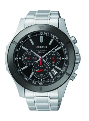 Seiko SSB111P1 Men's Chronograph Dark Dial Stainless Tone Watch