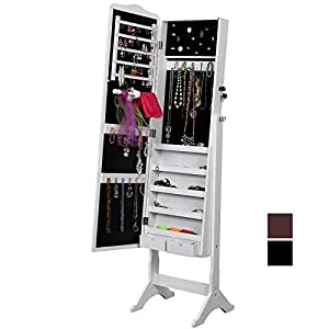 Songmics ® 158 x 41 Jewelry Armoire à bijoux Miroir sur pied avec organiseur JBC82W (Blanc)
