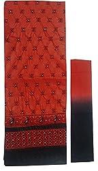 Sanvan Red & Black Cotton Embroidered Salwar Suit Dress Material_SV205SF