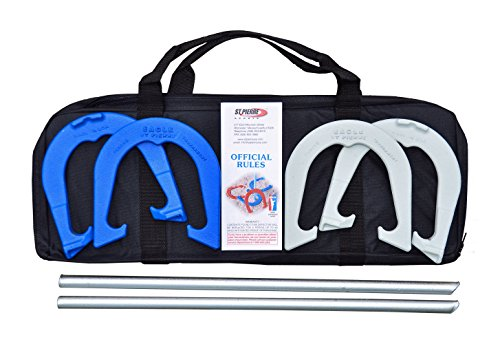 St Pierre Sports Eagle Tournament Horseshoe Outfit in Nylon Bag, Blue/Gray (Halloween In Worcester)