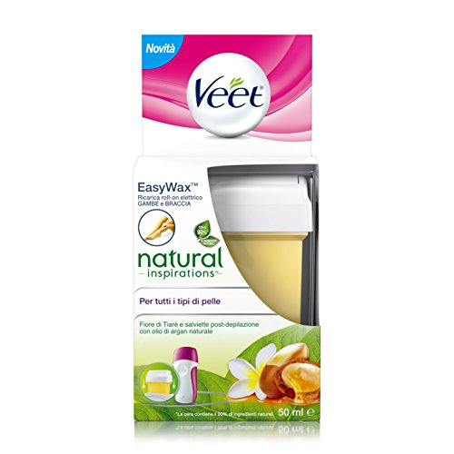 Veet Ricarica Roll-On Natural Inspirations Fiore Tiarè & Argan Oil, 50 ml