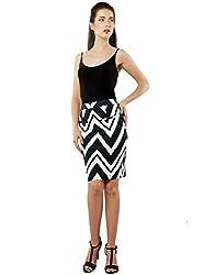 XnY Women's Pencil Skirt (SK 1020095 A_Black White_14)