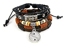Streetsoul YinYan Multicolor Leather Metal Wrist Band For Men.