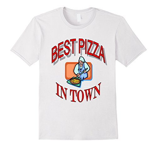 Men 39 s best pizza in town t shirt large white food for How to get spaghetti sauce out of a white shirt