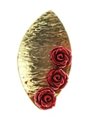 Aastha Jain Three Red Rose Sterling Silver(18k Gold Plated) Ring For Women
