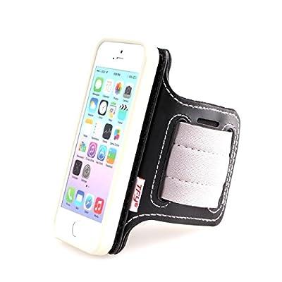 Sportarmband Open Face Design mit Abnehmbarer Hülle für iPhone 5/5S / iPhone SE - weiß Hülle mit Gurt Riemen - von TFY