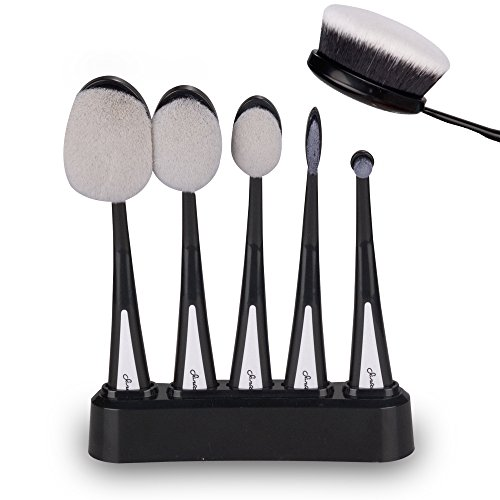 Makeup brushes and Holder, Latest Version Black Professional 5 Piece Toothbrush Makeup Brush Set with Soft Oval Toothbrush Design With Holder for Foundation Liquid Powder Cream Facial