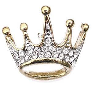 Gold Plated Rhinestone Crown Pin