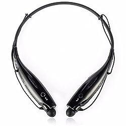 ShopAIS HBS-730 Bluetooth Stereo Headset HBS 730 Wireless Bluetooth Mobile Phone Headphone Earpod Sport Earphone with call functions (Black) for LG G Flex 2 Bluetooth Headsets