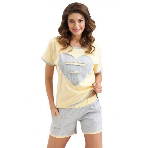 Damen Pyjama Shorty Schlafanzug Kurz 100% Baumwolle Nachtwäsche Set: Kurzarm Shirt & Shorts , Farbe: grau/gelb, Größe: 36