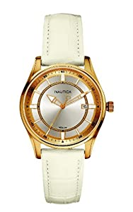 Nautica Women's N12593M NCT 500 Date White Leather Watch
