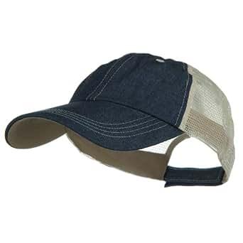 big size low profile special cotton mesh cap denim khaki