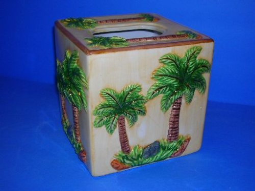 PALM TREE Gold Trim 3-D CERAMIC Tissue Kleenex Cover NEW