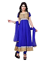 Diva Fusion Womens Net Anarkali Semi-Stitched Dress Material (Dfa115 _Blue)