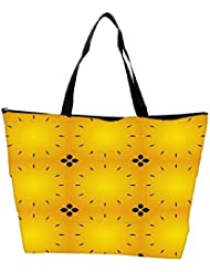 Snoogg Abstract Black Yellow Pattern Designer Waterproof Bag Made Of High Strength Nylon