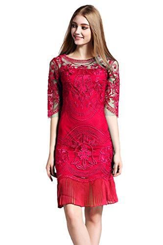New women s floral embroidery tulle lace cocktail prom