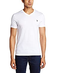 U.S. Polo Assn. Men's V Neck Cotton T-Shirt (I031-001-P1-L White)