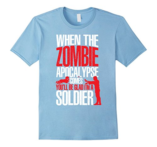 [Men's Zombie Soldier Fight Halloween Costume Party T-shirt Medium Baby Blue] (Zombie Soldier Costumes)
