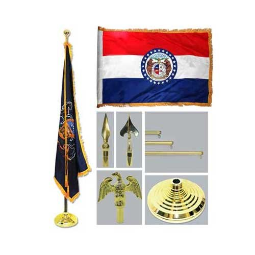 Missouri 4Ft X 6Ft Flag Telescoping Flagpole Base And Tassel