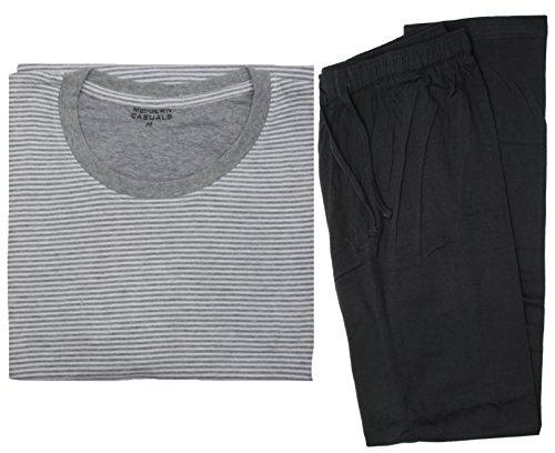 Modern Casuals Mens Striped Cotton Jersey Long Pyjamas HT332
