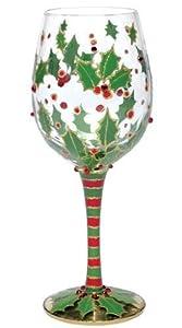 Lolita Wine Glass Christmas Design Holly Berry Amazon
