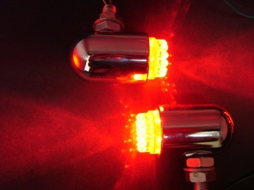 Tms Chrome Motorcycle Cruiser Red Turn Signal Led Tail Brake Stop Light Bullet Style Waterproof For Harley Davidson Touring Cruiser Custom Dyna Fx Fxr Fxd Vrod Honda Goldwing Gl Vtx