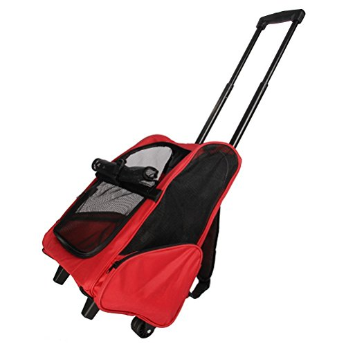 Sunnyhome007 Multifunction Airline Approved Pet Dog Cat Carrier Travel Backpack Portable Luggage Bag with Telescopic Handle Portable Stroller Wheel, Red