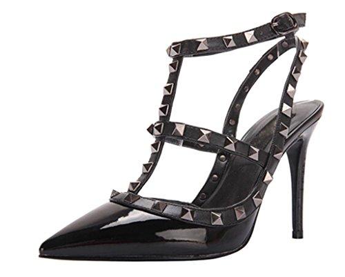 Littleboutique Girls Womens Pointed Toe Pumps Strap Sandals Shoes Ankle Strap Evening Party Rivet Dress Pump Heels Whole Black 10