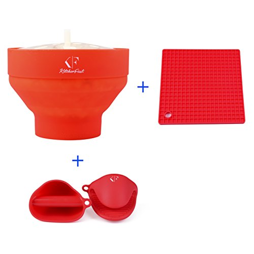 Popcorn Popper - Popcorn Maker - Popcorn Bowl with Heat Resistant Mat and Oven Mitts, by KitchenFirst (Popcorn Blend compare prices)