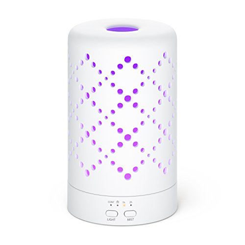 Aromatherapy Essential Oil Diffuser, Ceramic Ultrasonic Cool Air Mist Humidifier, Night Light, 7 Color LED Lights, 120ml Capacity For Plus 7 Hours Use, Safe Auto Shut Off, Diamonds Design, Soloportis (Micro Pure Air Cleaner compare prices)