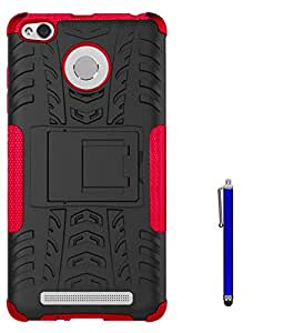 TBZ Hard Grip Rubberized Kickstand Back Cover Casefor Xiaomi Redmi 3S? with 16GB MicroSD and Stylus -Red