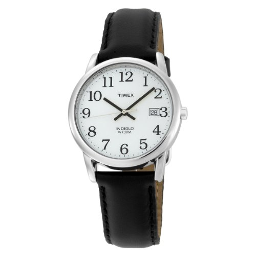 Timex Men's T2H281 Easy Reader Black Leather Strap SilverTone Case Watch