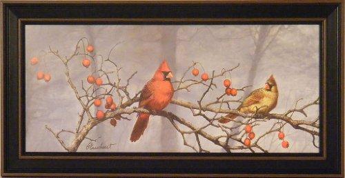 Backyard Visitors by Richard Plasschaert 10x20 Cardinals Birds Art Print Wall Décor Framed Picture (Cardinal Bird Pictures compare prices)