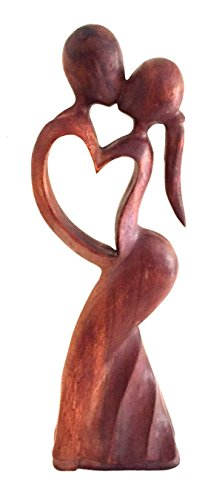 Wood Carved Love Passion Embrace Statue Eternal Love Abstract Art -16