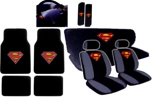 15Pcs New Superman Car Seat Covers Set With Heavy Duty Carpet Floor Mats, Shoulder Pads And Steering Wheel Cover front-434846