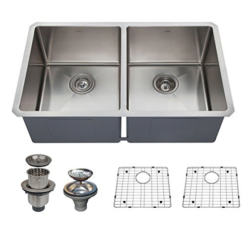 Fantastic Deal! Zuhne 32 Inch Undermount 50/50 Deep Double Bowl 16 Gauge Stainless Steel Modern Kitc...