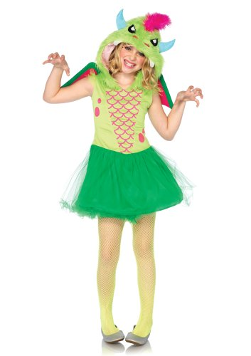 [Leg Avenue Costumes 2Pc.Magic Dress with Furry Dragon Hood Velcro Wings, Green, Small] (Dragon Girl Costume)