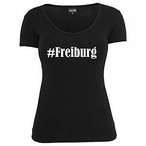 T-Shirt #Freiburg Hashtag Raute für Damen Herren und Kinder ... in der Farbe Schwarz