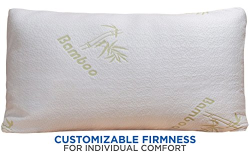 Home With Comfort - Adjustable Bamboo Pillow With Shredded Memory Foam and Stay Cool Cover (Queen) (How Many Days Is Standard Shipping)