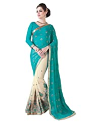 Manvaa Sky Blue And Off White Georgette Chiffon Embroidered Sarees
