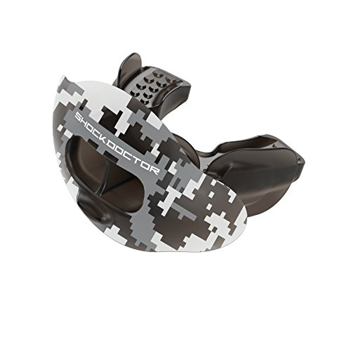 Shock Doctor 3300 Max Airflow Lip Guard Mouthguard With Tether, Trans Black Camouflage, Adult Size