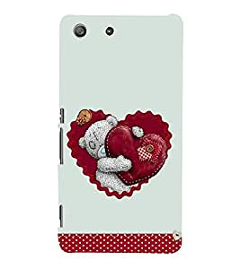 Cute Bear with Heart 3D Hard Polycarbonate Designer Back Case Cover for Sony Xperia M5 Dual :: Sony Xperia M5 E5633 E5643 E5663