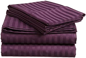 ITALIAN 1500 Thread Count 4PC Striped QUEEN Sheet Set, PURPLE