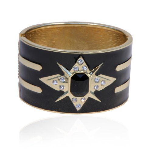 Black and Gold Diamante Hinged Bangle Bracelet