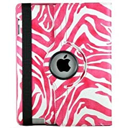 LiViTech(TM) Zebra Series 360 Rotating PU Leather Case Smart Cover for Apple iPad 4/3/2 (Hot Pink)